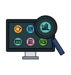 Desktop with business icons and magnifying glass vector