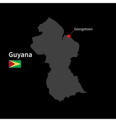 Detailed map of Guyana and capital city Georgetown vector image