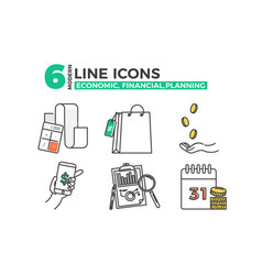 economic icons financial planning app vector image