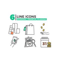 Economic icons financial planning app vector
