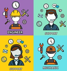 Engineering mechanic and support set flat outlined vector