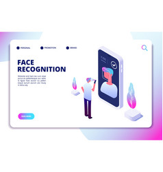 face recognition isometric concept id vector image