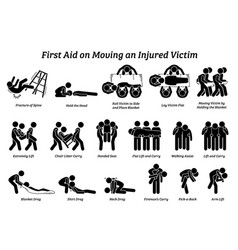 First aid techniques on moving an injured victim vector