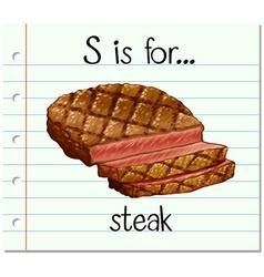 Flashcard letter S is for steak vector image