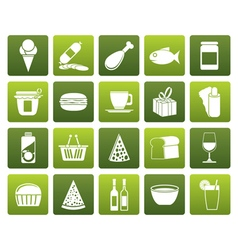Flat Shop and Foods Icons vector image