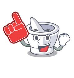Foam finger mortar mascot cartoon style vector