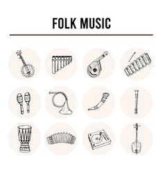 folk music isolated hand drawn doodles vector image
