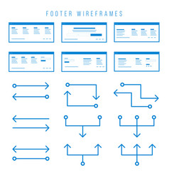 Footer wireframe components for prototypes vector