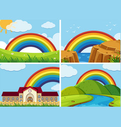 four scenes with rainbow in the sky vector image