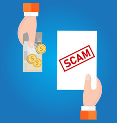 Fraud investment scam money transaction with vector