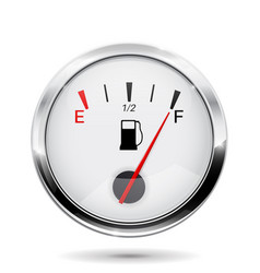 fuel gauge with chrome frame full indication vector image