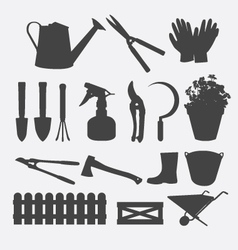 Gardening Tools Silhouette vector image