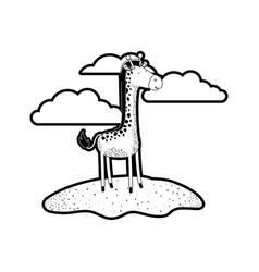 giraffe cartoon in outdoor scene with clouds in vector image