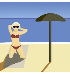 Girl beach vector