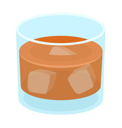 Glass glass of whiskey with ice alcoholic vector
