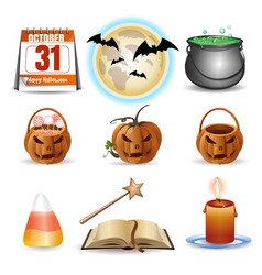 halloween icons set colorful cartoon icons vector image