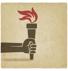 hand with torch symbol vector image