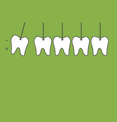 hanging healthy tooth isolated on green background vector image