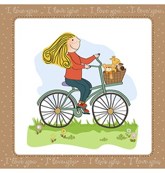 happy girl on bike vector image