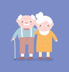 Happy grandparents day grandpa with walk stick vector