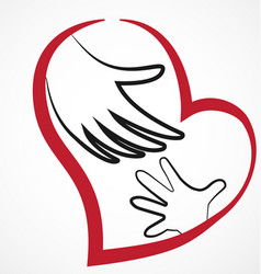 Helping hand with loving heart vector