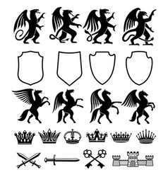heraldic royal animals isolated icons vector image
