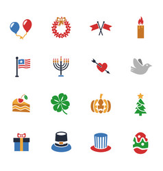 holidays icon set vector image