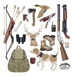 Hunting icon set design elements vector