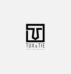 Initial t like tie and with line square letter t vector