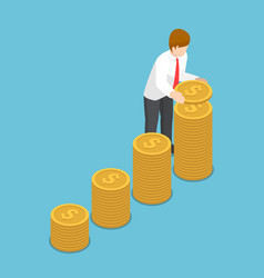Isometric businessman put coin to growth stack of vector