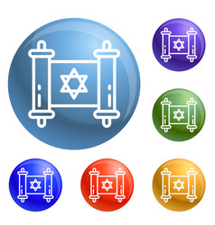 jewish papyrus icons set vector image