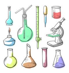 laboratory equipment glassware hand drawn vector image