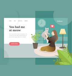 landing page template pet lovers vector image