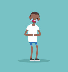 Laughing out loud black man flat editable vector