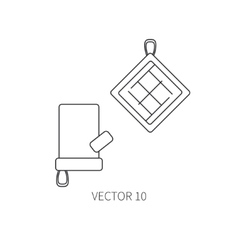 Line flat kitchenware icons - oven-glove vector