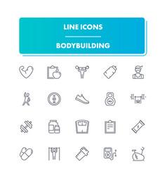 line sport icons set bodybuilding vector image