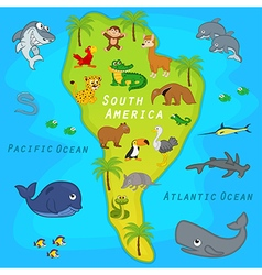 map of South America with animals vector image