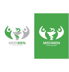Medicine and people logo combination vector