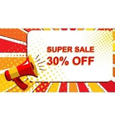 Megaphone with SUPER SALE 30 PERCENT OFF vector