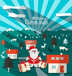 Merry Christmas Winter Landscape with Santa Retro vector image