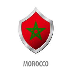 Morocco flag on metal shiny shield vector