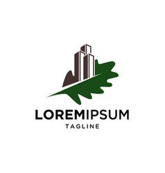 oak leaf and building symbol logo design vector image