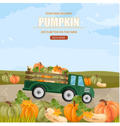 Pumpkins in a truck farm ville vector