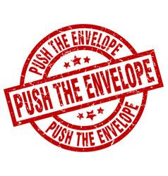 Push the envelope round red grunge stamp vector