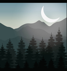 Realistic mountain landscape design vector