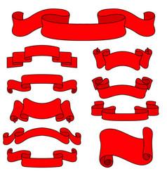 red paper scrolls set vector image