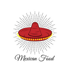 Red sombrero mexican food badge isolated on white vector