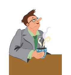 Retro hipster man drinking coffee with smile on vector