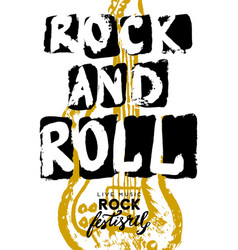 rock festival poster and roll sign slogan vector image