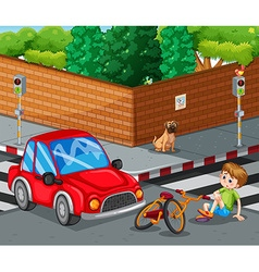 Scene with car crashing bicycle and boy getting vector image